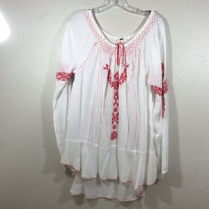Free people white embroidered tunic size Large